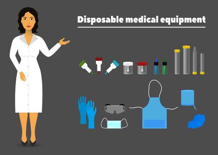 Ilustración de equipo médico desechable y una enfermera (trabajador de la salud)