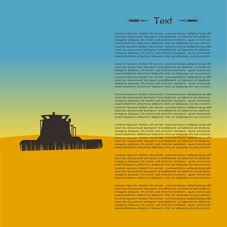 illustration of tractor silhouette in the field