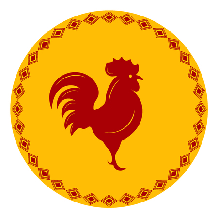 Red Rooster in a frame with an ornament Illustration