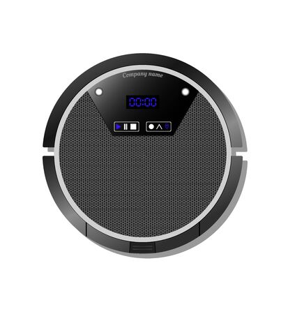 Robot vacuum cleaner with an electronic scoreboard. view from above