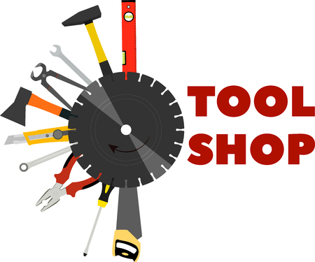 saw, pliers, axes and other tools for construction and repair Illustration