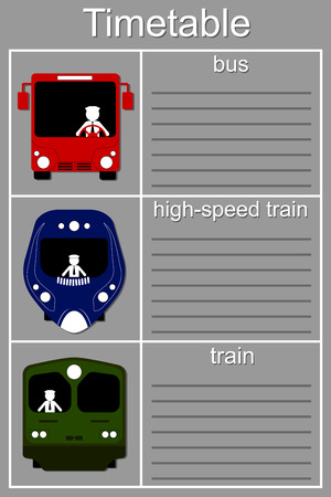 transporte terrestre: Horario de Transporte de tierra - autobús, tren, tren de alta velocidad Vectores