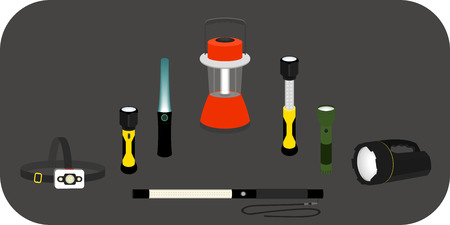 flashlights: vector illustration various flashlights - headlamp, handlamp, tablelamp