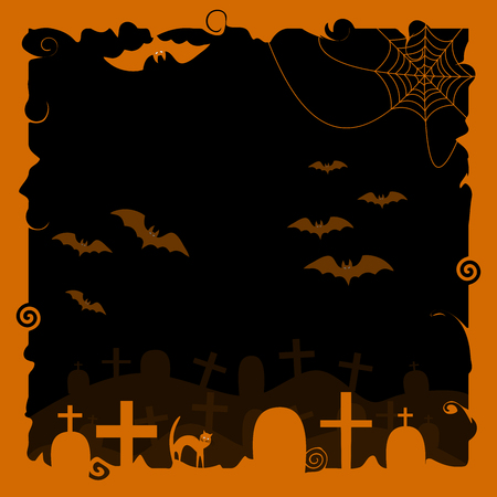 Halloween background with a silhouette of a black cat, bats, cobwebs and tombstones