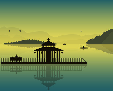 landscape which depicts the pond, sky, silhouettes of boats and fishermen, alcove and the bench at sunset
