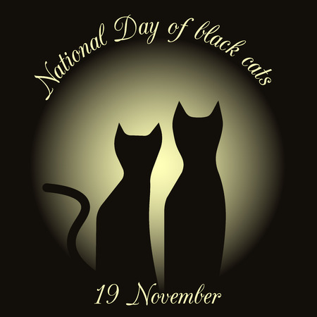silhouettes of black cats on a background of the moon. drawing in honor of black cats in Italy