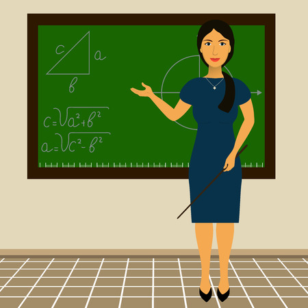 academia: teacher standing at the blackboard with a pointer in his hand
