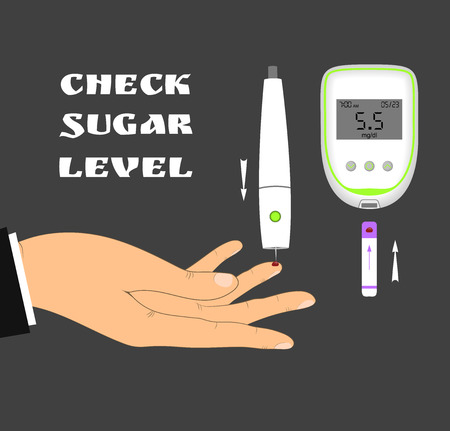 blood sugar: Blood sugar level monitoring with glucose meter. Check your blood glucose level. Diabetes screening.