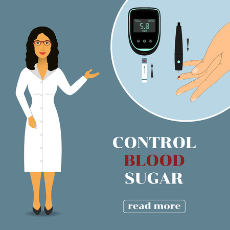 blood sugar: Device for measuring the blood sugar level. doctor in lab coat showing how to measure the level of glucose in the blood. Illustration