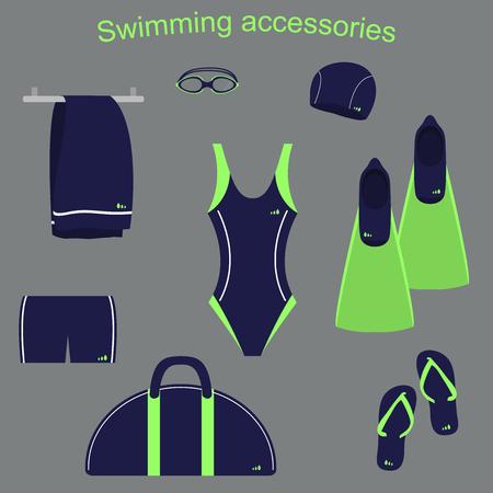 accessoires en kleding voor zwembaden Stock Illustratie