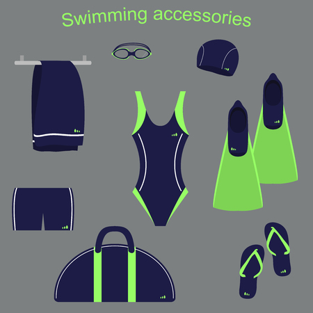 accessories and clothing for swimming pools Illustration