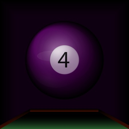 purple billiard ball number four on the table