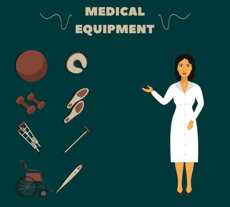 Medical worker in white coat demonstrates medical equipment Illustration