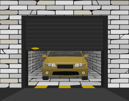 car in a garage with sectional gates