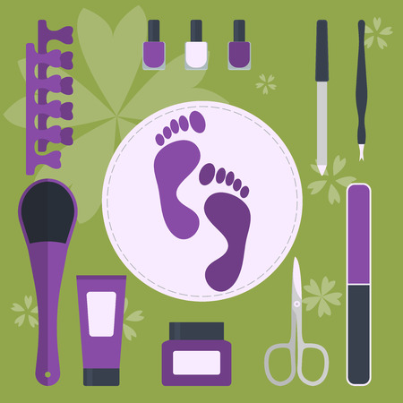 set of accessories and tools for pedicure and manicure Illustration