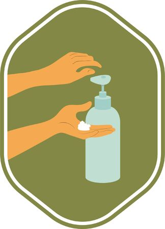 Closeup of hands with foam on the palm. A hand squeeze liquid soap out of the dispenser. Washing hands with soap.