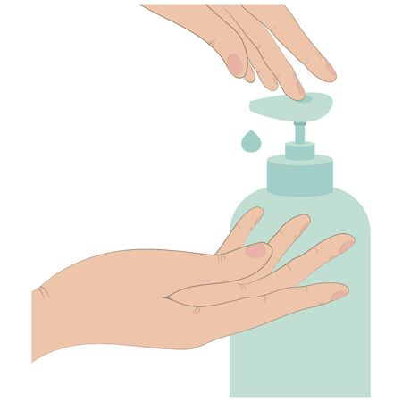 washing hands with liquid soap Illustration