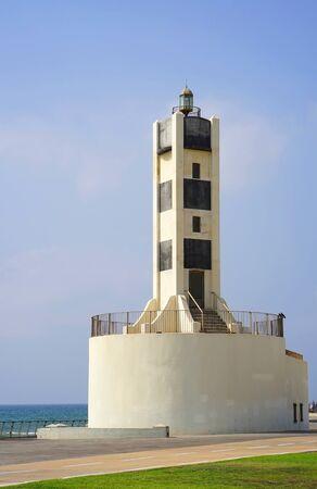 Lighthouse on the open coast Stock Photo