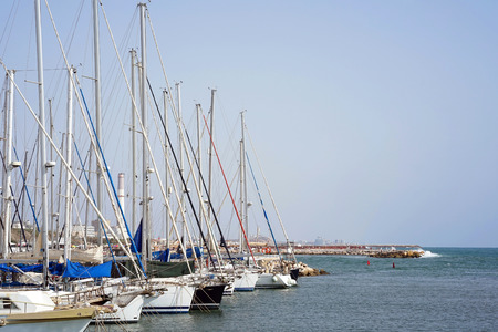 Yachts on the bay on a sunny day Banco de Imagens