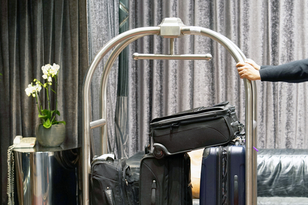 Trolley Luggage at the hotel 免版税图像 - 97232233