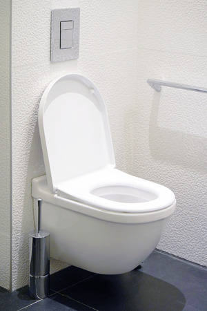 Close-up of toilet bowl and roll on toilet paper holder. Toilet paper roll in restroom. Public toilet in the airport or restaurant, cafe.