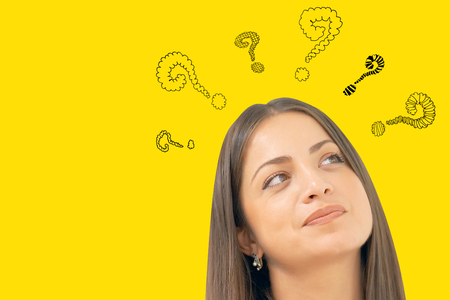 Question Marks with woman. Face thinking woman with question mark on yellow background.