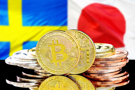 Bitcoins on the background of the flag Sweden and Japan. Concept for investors in cryptocurrency and Blockchain technology in the Sweden and Japan.
