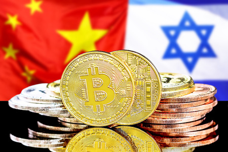 Bitcoins on the background of the flag Israel and China. Concept for investors in cryptocurrency and Blockchain technology in the Israel and China.