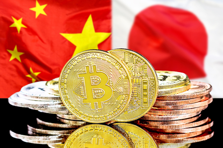 Bitcoins on the background of the flag China and Japan. Concept for investors in cryptocurrency and Blockchain technology in the China and Japan.