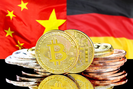 Bitcoins on the background of the flag China and Germany. Concept for investors in cryptocurrency and Blockchain technology in the China and Germany.
