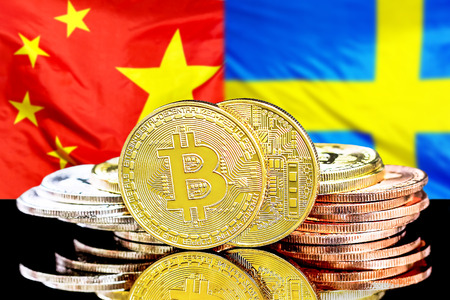 Bitcoins on the background of the flag China and Sweden. Concept for investors in cryptocurrency and Blockchain technology in the China and Sweden.