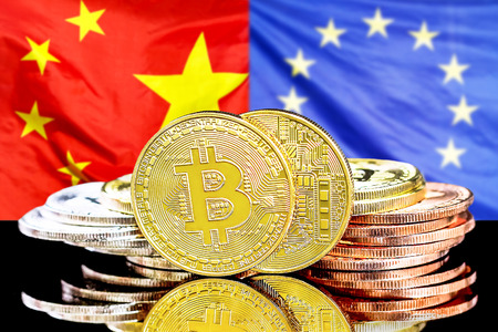 Bitcoins on the background of the flag China and European Union. Concept for investors in cryptocurrency and Blockchain technology in the China and European Union.