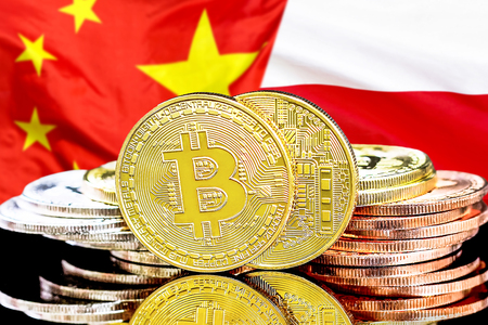 Concept for investors in cryptocurrency and Blockchain technology in the Poland and China. Bitcoins on the background of the flag Poland and China.
