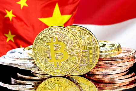 Concept for investors in cryptocurrency and Blockchain technology in the Monaco and China. Bitcoins on the background of the flag Monaco and China. Фото со стока