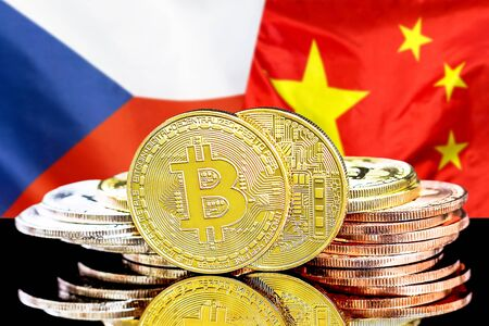 Concept for investors in cryptocurrency and Blockchain technology in the Czech Republic and China. Bitcoins on the background of the flag Czech Republic and China.