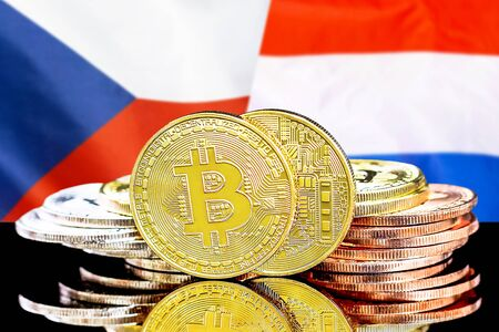 Concept for investors in cryptocurrency and Blockchain technology in the Czech Republic and Netherlands. Bitcoins on the background of the flag Czech Republic and Dutch.