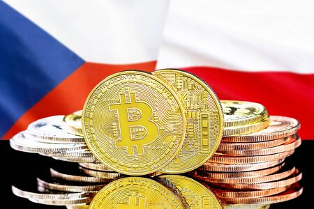 Concept for investors in cryptocurrency and Blockchain technology in the Czech Republic and Poland. Bitcoins on the background of the flag Czech Republic and Poland.