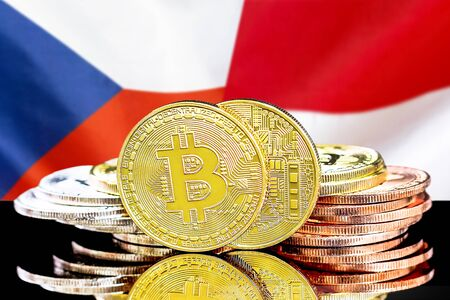 Concept for investors in cryptocurrency and Blockchain technology in the Czech Republic and Monaco. Bitcoins on the background of the flag Czech Republic and Monaco.