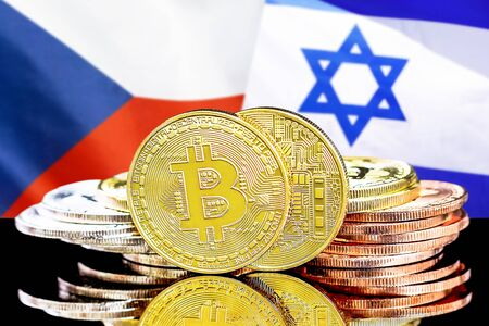 Concept for investors in cryptocurrency and Blockchain technology in the Czech Republic and Israel. Bitcoins on the background of the flag Czech Republic and Israel.