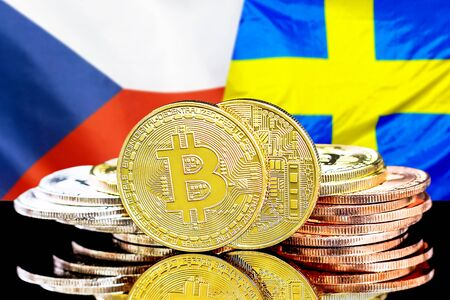 Concept for investors in cryptocurrency and Blockchain technology in the Czech Republic and Sweden. Bitcoins on the background of the flag Czech Republic and Sweden. Standard-Bild