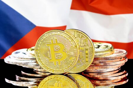 Concept for investors in cryptocurrency and Blockchain technology in the Czech Republic and Austria. Bitcoins on the background of the flag Czech Republic and Austria. Stock Photo