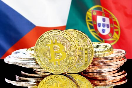 Concept for investors in cryptocurrency and Blockchain technology in the Czech Republic and Portugal. Bitcoins on the background of the flag Czech Republic and Portugal.