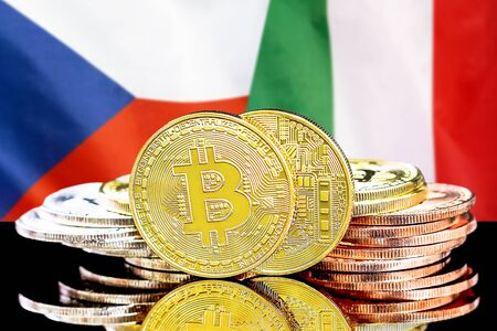 Concept for investors in cryptocurrency and Blockchain technology in the Czech Republic and Italy. Bitcoins on the background of the flag Czech Republic and Italy.