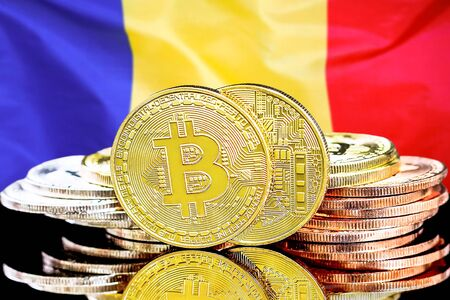 Concept for investors in cryptocurrency and Blockchain technology in the Moldova. Bitcoins on the background of the flag Moldova.