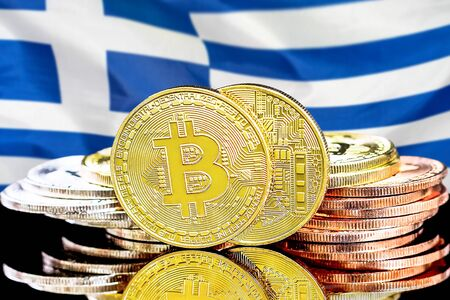 Concept for investors in cryptocurrency and Blockchain technology in the Greece. Bitcoins on the background of the flag Greece.