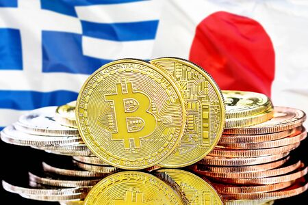 Concept for investors in cryptocurrency and Blockchain technology in the Greece and Japan. Bitcoins on the background of the flag Greece and Japan.