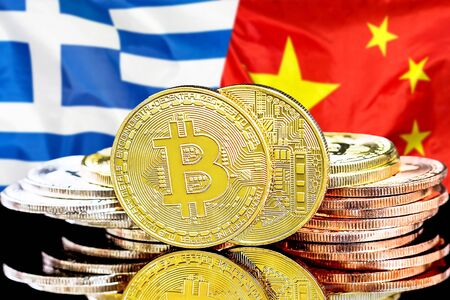 Concept for investors in cryptocurrency and Blockchain technology in the Greece and China. Bitcoins on the background of the flag Greece and China.