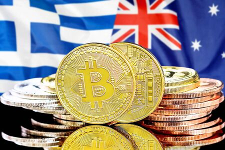 Concept for investors in cryptocurrency and Blockchain technology in the Greece and Australia. Bitcoins on the background of the flag Greece and Australia.