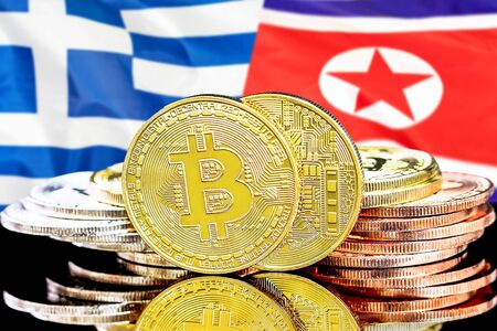 Concept for investors in cryptocurrency and Blockchain technology in the Greece and North Korea. Bitcoins on the background of the flag Greece and North Korea.