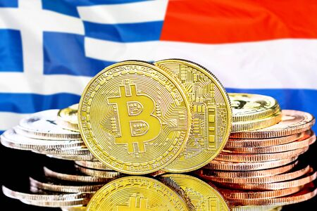 Concept for investors in cryptocurrency and Blockchain technology in the Greece and Netherlands. Bitcoins on the background of the flag Greece and Dutch. Zdjęcie Seryjne - 124964486